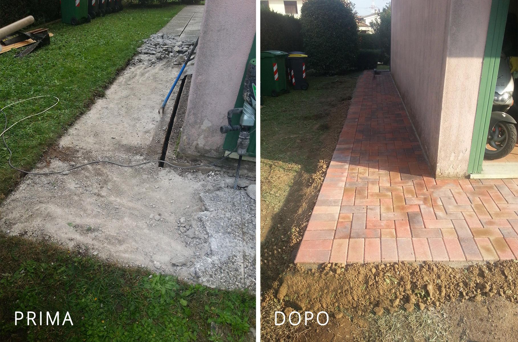 Lavori impresa cosmat engineering s r l - Posa pavimento esterno su cemento ...